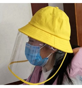 Anti-spray saliva droplet yellow fisherman's cap with face shield for kids kindergarten school protective hat for boy and girls